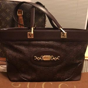 Authentic Monogram Gucci Leather chocolate Bag